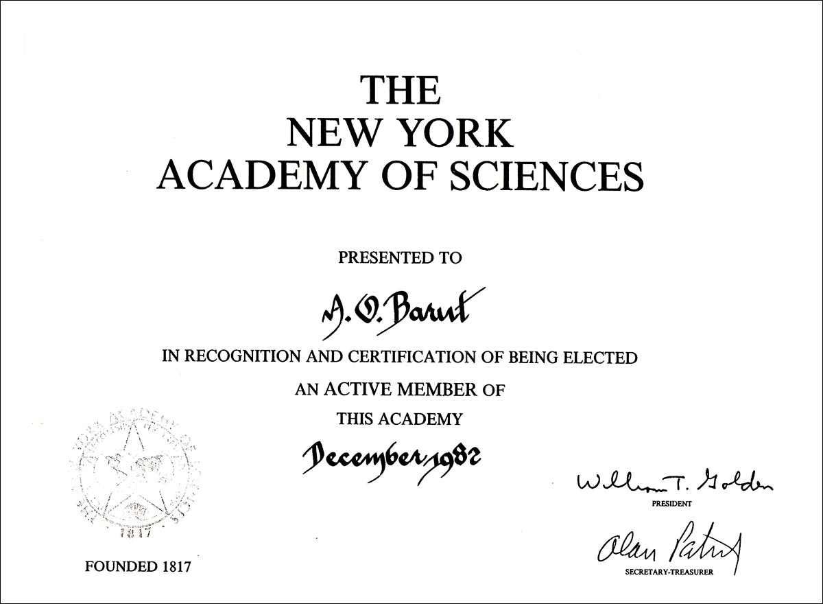 Asım Orhan Barut - Diploma - The New York Academy of Sciences