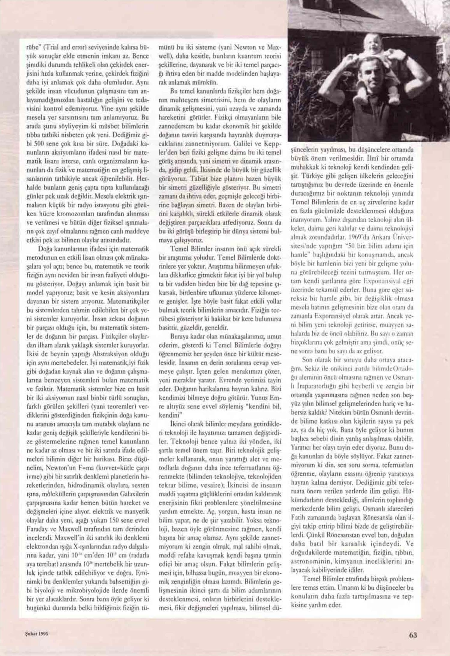 Basında Asım Orhan Barut | Fizikte Çığır Açan Büyük Kaybımız Asım Orhan Barut | Bilim ve Teknik Dergisi, Şubat 1995