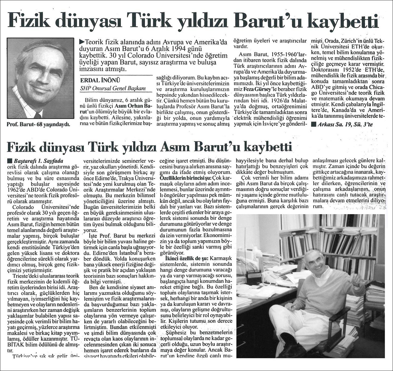 Basında Asım Orhan Barut | Fizik dünyası Türk yıldızı Asım Barut'u kaybetti | Erdal İnönü | Cumhuriyet Gazetesi, 11 Aralık 1994 Pazar